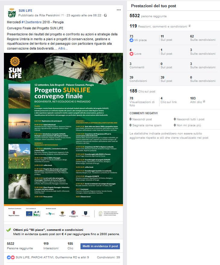 istantanea del 19 settembre delle statistiche degli accessi al post della pagina Facebook con il programma del convegno conclusivo